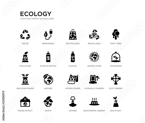 Fotografie, Obraz  set of 20 black filled vector icons such as eco plant, eco turbine, ecologism, fruit tree, geothermal energy, geyser, pollution, recyclable, recycle bag, renewable