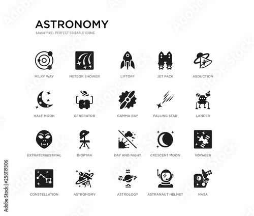 Photo set of 20 black filled vector icons such as nasa, voyager, lander, abduction, astranaut helmet, astrology, half moon, jet pack, liftoff, meteor shower