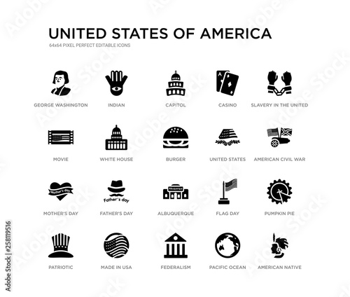 set of 20 black filled vector icons such as american native, pumpkin pie, american civil war, slavery in the united states, pacific ocean, federalism, movie, casino, capitol, indian. united states Wall mural