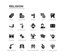 Set Of 20 Black Filled Vector Icons Such As Jewish Candles, Four Species, Halakha, Lamb Of God, Dreidel, Ark Of The Convenant, Tefilin, Kotel, Gragger, Jewish Coins. Religion Black Icons Collection.