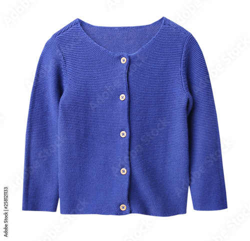 Fotografía  Child's blue knitted long sleeve cardigan isolated.