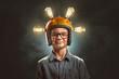 canvas print picture - Schlaues Kind mit Glühbirnen-Helm