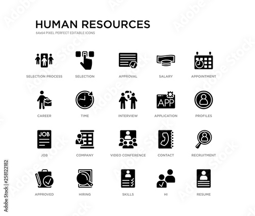 Set Of 20 Black Filled Vector Icons Such As Resume Recruitment