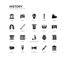 Set Of 20 Black Filled Vector Icons Such As Pillars, Cart, Face, Stone, Sword, Old Paper, Bricks, Mummy, Skull, Ruler. History Black Icons Collection. Editable Pixel Perfect