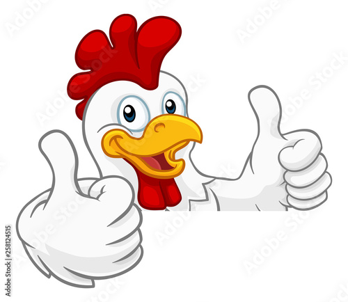 Slika na platnu A chicken rooster cockerel bird cartoon character peeking over a sign and giving