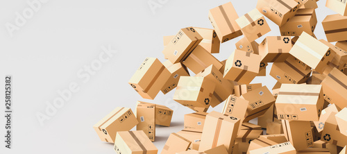 Fotomural  Cardboard boxes with empty space on left side, logistics and delivery concept