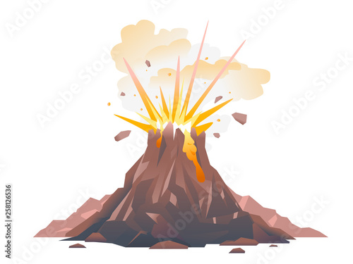 One big brown volcano with explosion and smoke, volcano eruption of orange lava Canvas