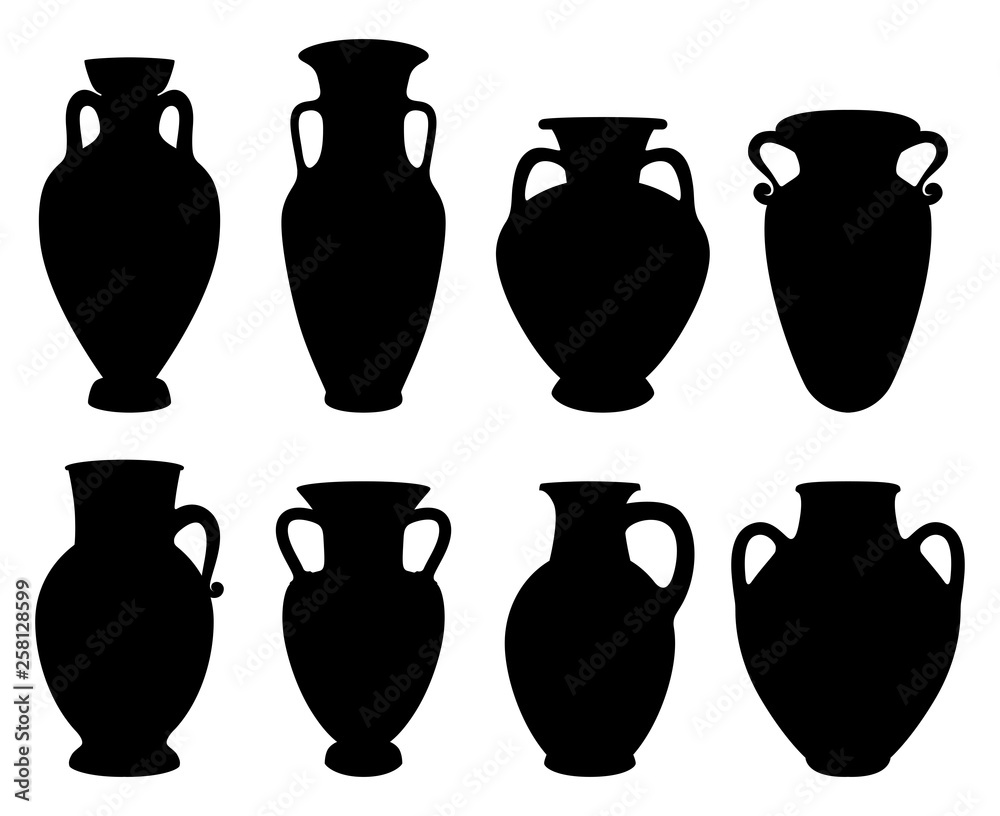 Fototapety, obrazy: Vector illustrations with Silhouettes of Greek Amphoras