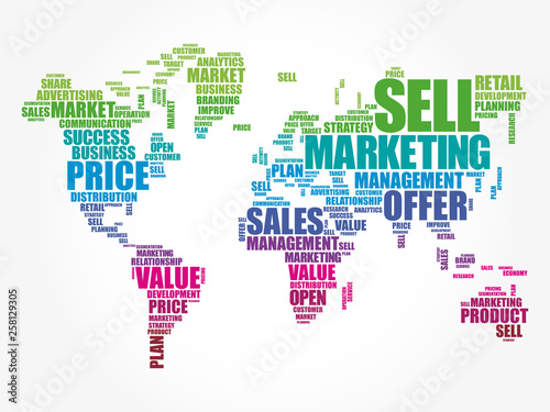 Marketing word cloud in shape of World Map, business concept ... on