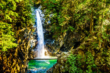 Panel Szklany Wodospad The turquoise waters of Cascade Falls in Cascade Falls Regional Park between the towns of Mission and Deroche in British Columbia, Canada