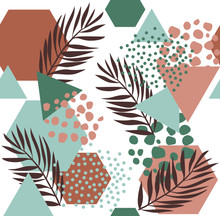 Abstract Drawing In Scandinavian Style. Modern Vector Illustration With Tropical Leaves, Grunge, Marbling Textures, Doodles, Minimal Elements. Creative Seamless Pattern With Hand Drawn Shapes