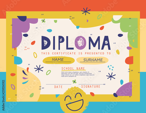Cute Diploma template for kids.Vector illustration. Canvas Print