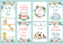 Pastel Birthday Card With Tige...