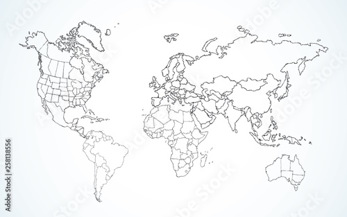 Photo Stands World Map World map. Continents with the contours of the countries. Vector drawing