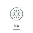 sun icon vector from geography collection. Thin line sun outline icon vector illustration.