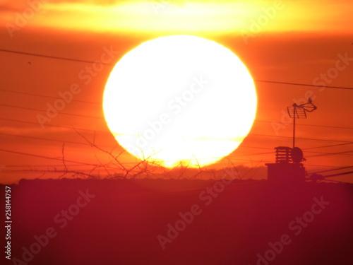 Cadres-photo bureau Brique lever de soleil et couleur du ciel