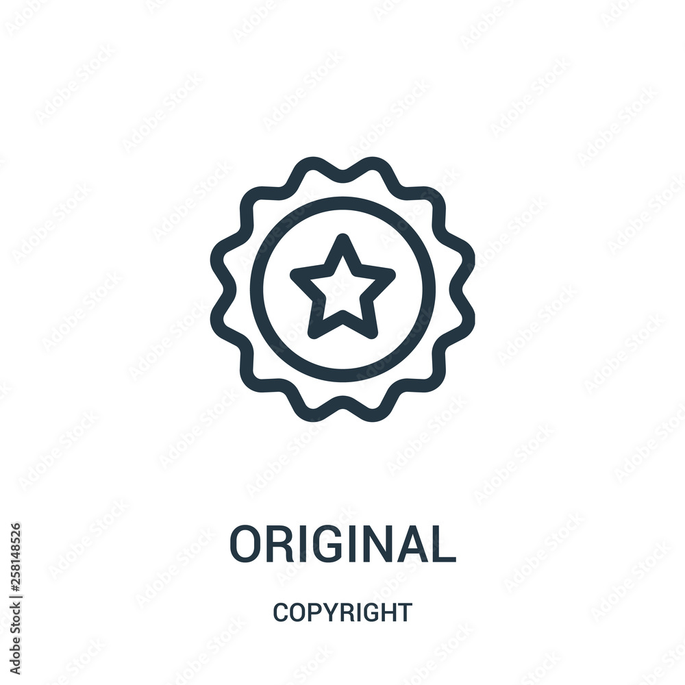Fototapeta original icon vector from copyright collection. Thin line original outline icon vector illustration.