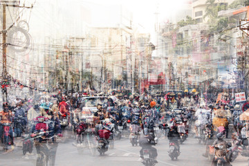 Fototapeta Abstrakcja abstract city life and traffic concept - crowded streets double exposure -