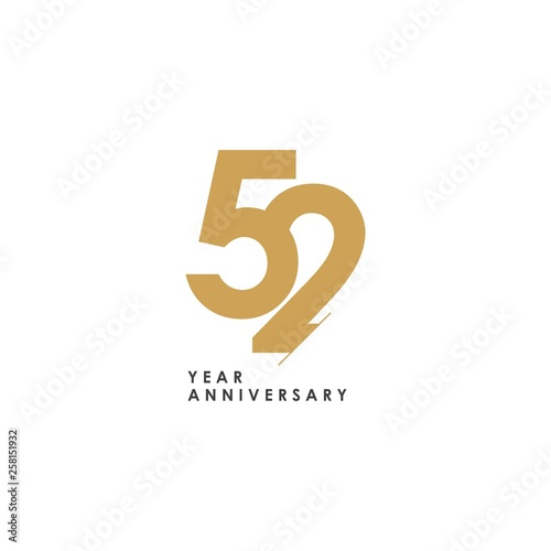 Fotografía  52 year Anniversary Logo Vector Template Design Illustration