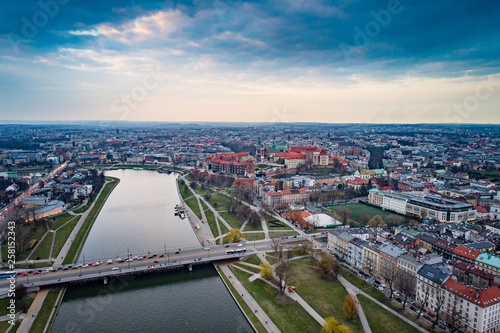 Fototapeta Aerial drone view on Cracow and Wawel Castle. obraz