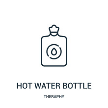 Hot Water Bottle Icon Vector From Theraphy Collection. Thin Line Hot Water Bottle Outline Icon Vector Illustration.