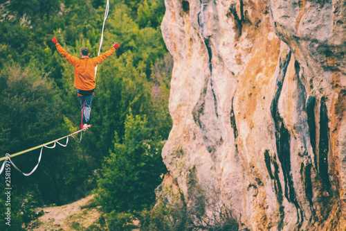 Photographie Highline in the mountains.