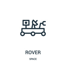 Rover Icon Vector From Space Collection. Thin Line Rover Outline Icon Vector Illustration.