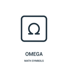 Omega Icon Vector From Math Symbols Collection. Thin Line Omega Outline Icon Vector Illustration.