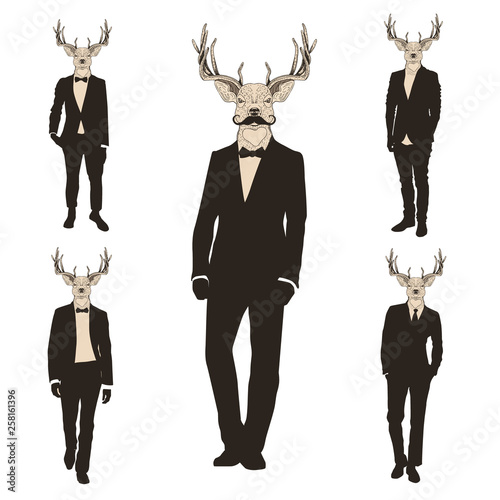 Men with deer heads black and white silhouette set.
