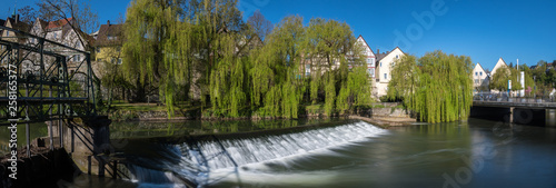 Canvas Prints Forest river Backnang Biegelwehr Panorama