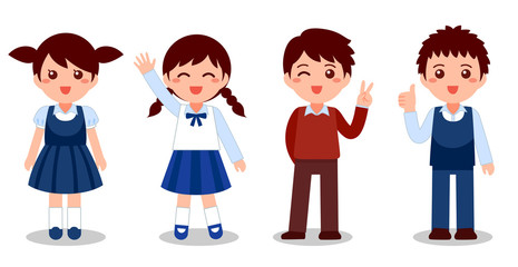 children uniform, Cute boys and girls happy with school. Flat cartoon vector illustration isolated on white background.