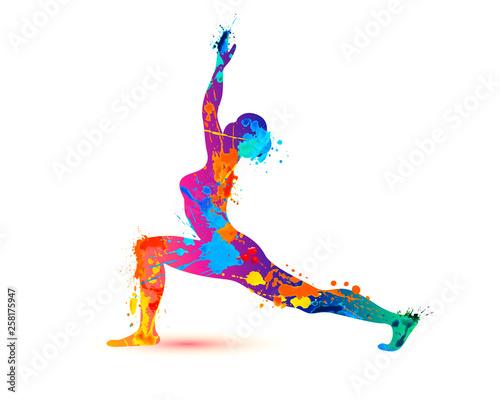 Yoga asana virabhadrasana. Warrior pose. Splash paint
