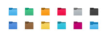 Folder Icons Set. All Type Of Document, File Formats Vector Illustration Symbols Collection. Computer Folder, Folders Sign.
