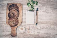 Vegan Burger With Lentils. Vegan Dish Healthy. Wooden Background