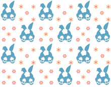Rabbit Pattern Texture. Cute Vector Cartoon Background. Bunny Foot And Tail Rabbit Children Decoration Background. Vector