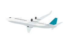 Flat Airplane Icon Isolated On White Background. Vector Illustration