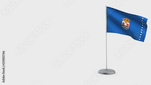 Ourense 3D waving flag illustration.
