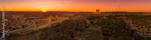 Molina de Aragon classic medieval Spanish ruined castle aerial panorama view at sunset close to Guadalajara Spain