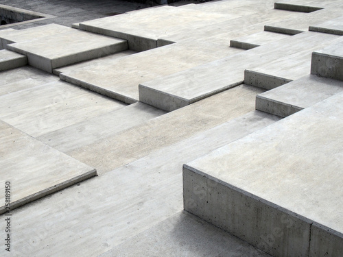 grey modern geometric cubic concrete steps forming angular patterns and shapes Canvas Print