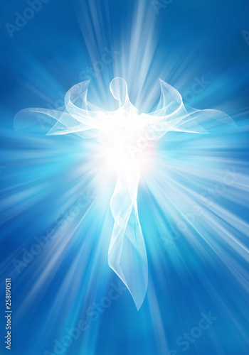 Fotografiet  Illustration modern abstract white angel in sky with bright light rays