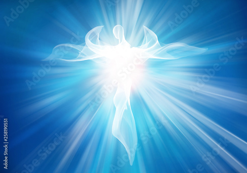 Fotografering Modern abstract white angel in sky with bright light rays