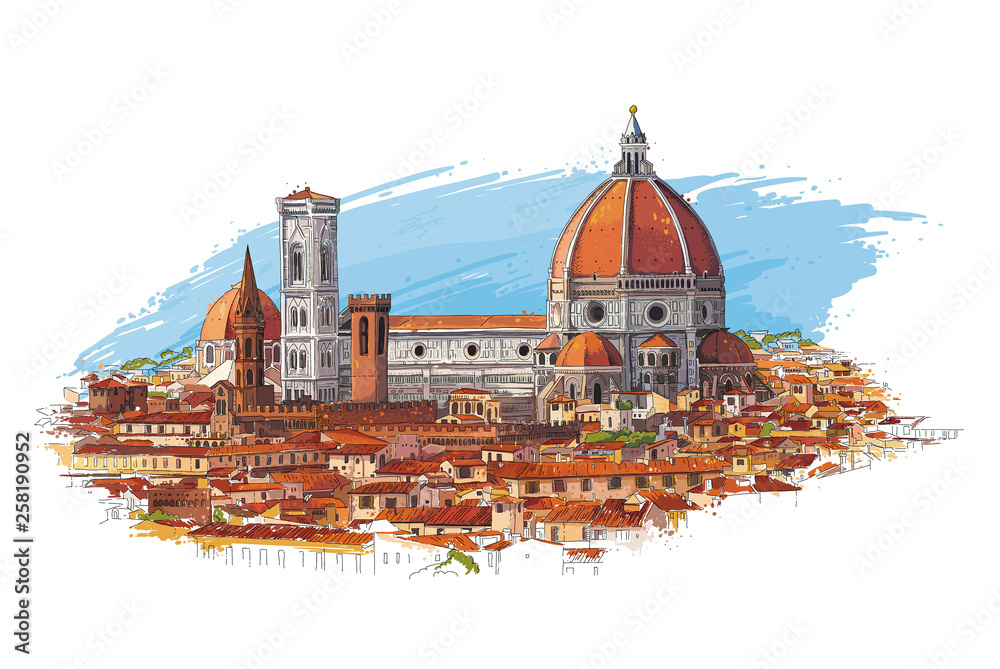 Florence, Italy cityscape with Dome and old quarters. Hand drawn sketch vector illustration.