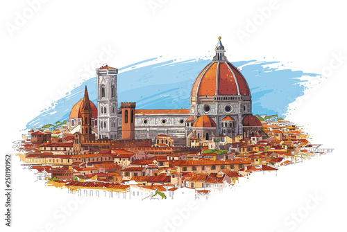 Foto auf Gartenposter Weiß Florence, Italy cityscape with Dome and old quarters. Hand drawn sketch vector illustration.
