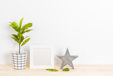 Home Decor With Picture Frame, Concrete Star And Plant