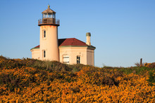 Coquille River Lighthouse On The Pacific Coast Near Bandon, Oregon.