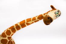 Stuffed Giraffe. Baby  Plush Toy On White Background