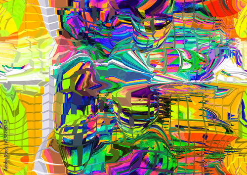 Deurstickers Paradijsvogel Colorful abstract illustration with elements of art