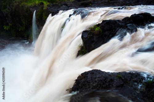 Hilo Hawaii - Top of Piihonua Waterfall during storm