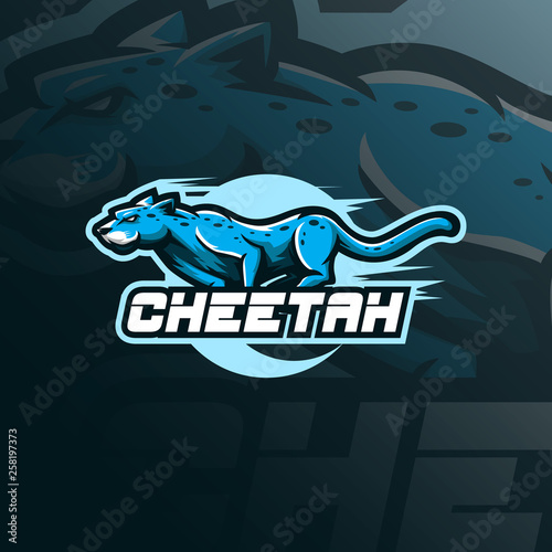 cheetah mascot logo design vector with modern illustration concept style for badge, emblem and tshirt printing Poster Mural XXL