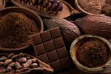 Fototapeta Zwierzęta - Chocolate , candy sweet, dessert food on natural paper background